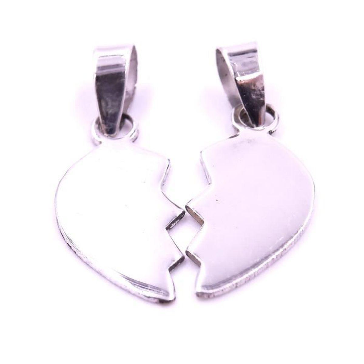 Pendentif Cœur Amour Argent 925 collier bijoux Sécable Médaille ... 652915b225f7
