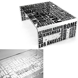 TABLE BASSE Table basse City Ecriture blanche
