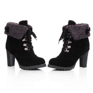BOTTINE Femmes à lacets haut épais Bottes Chaussures court