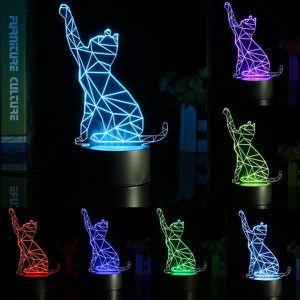 LAMPE A POSER NEUFU Lampe de table d'illusion de chat 3D led usb