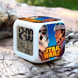 HORLOGE - PENDULE 1PCS Star Wars LED changeant de couleur d'alarme C