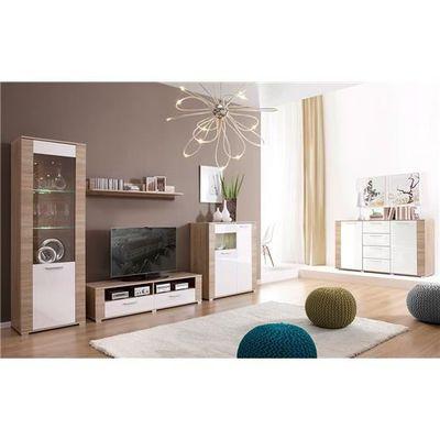 Meuble Tv Et Commode Design Erness Bois Clair Et Blanc Composition