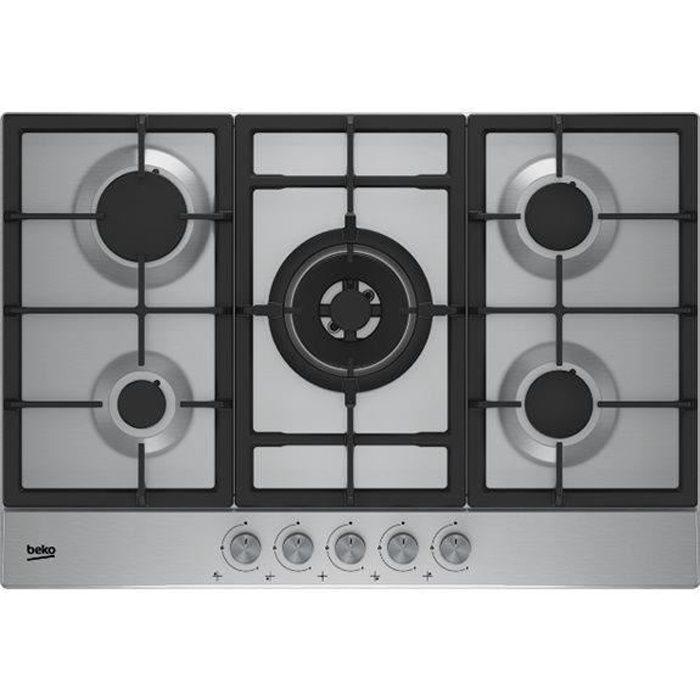 BEKO - HIAW75225SX - Table de cuisson Gaz - 4 foyers gaz + 1 double couronne - Support fonte - 75 cm