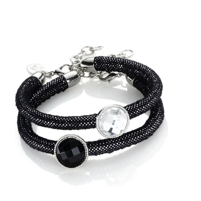 Kit bracelets Black glitter - Kit complet pour créer 2 bracelets de 25 cm - Contient : ruban en imitation DaimKIT BIJOUX