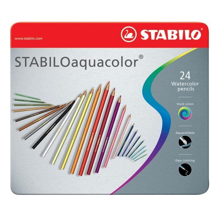 STABILO Boîte métal de 24 crayons de couleur aquarellables Aquacolor
