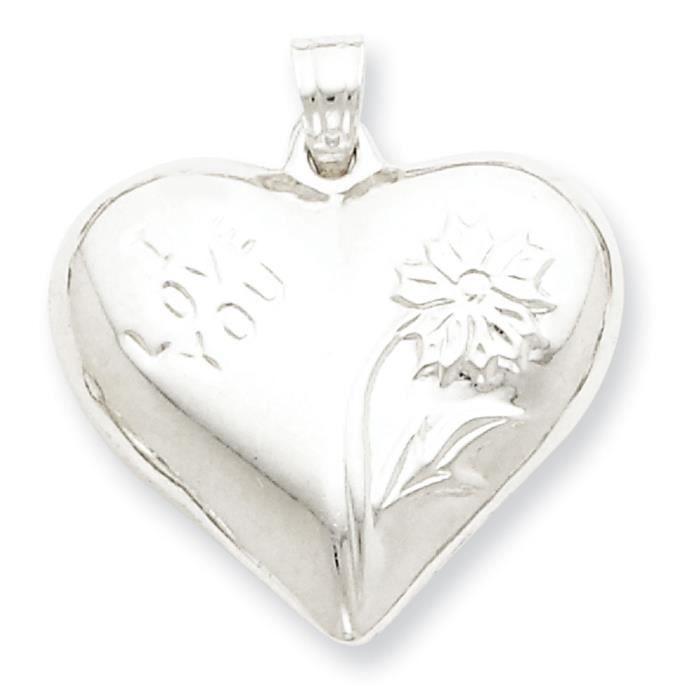Argent Sterling poli soufflé coeur de fleur Pendentif
