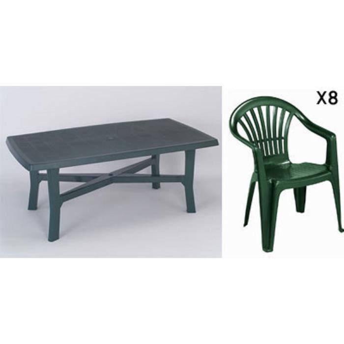 Grande table 180 cm + 8 fauteuils empilables en plastique vert ...