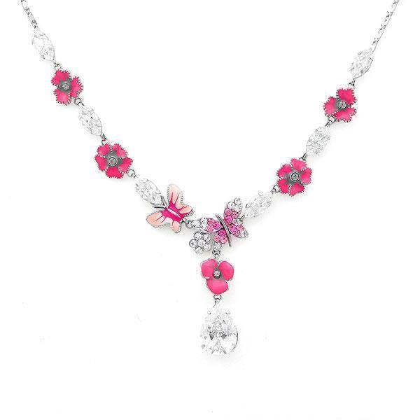 Fleur Rose Et Collier De Papillon Avec Elements Cristaux Swarovski