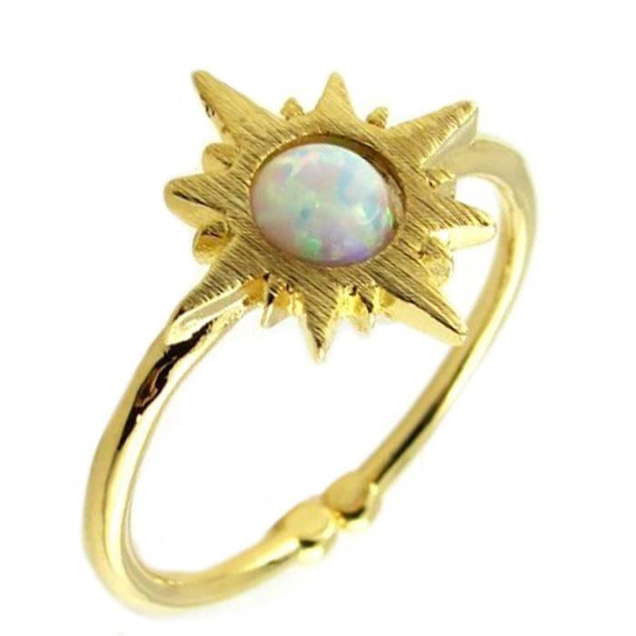 Bague artisanale Soleil blanc opale doré - 10x10 mm [P8349]