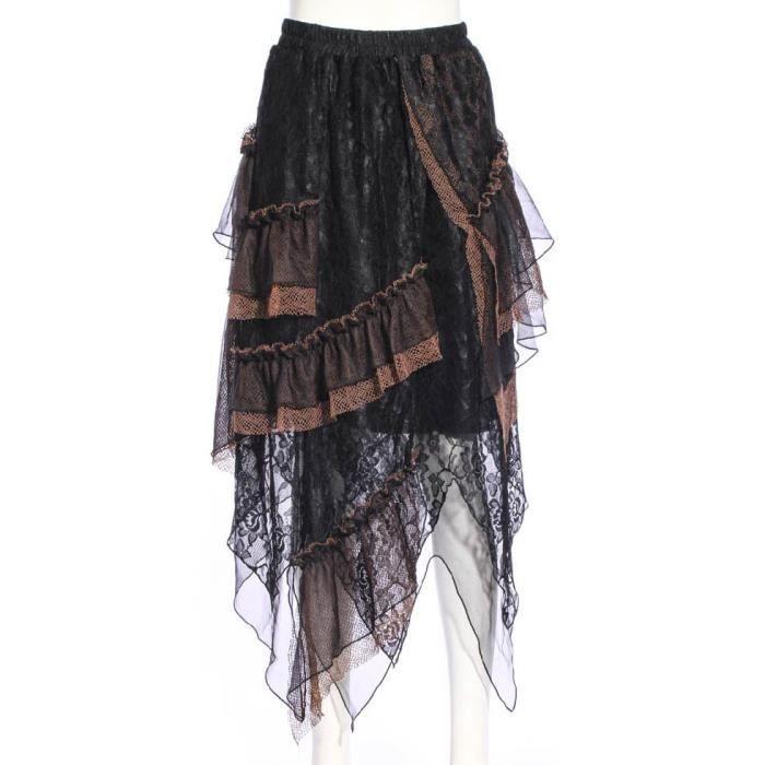 a92f6d6e1da7e Longue jupe volants en dentelle noire et marron steampunk RQBL aille unique  Noir