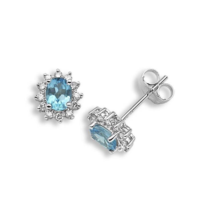 Jewelco London Or Blanc 18k Ovale Bleu Topaze et Diamant Pôle Royal Goujon Boucles dOreilles