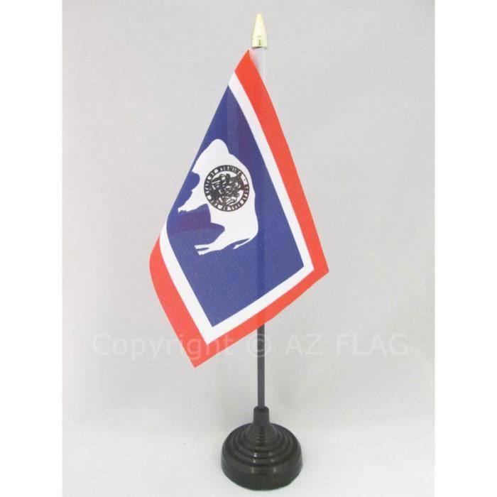 Drapeau de table Wyoming 15x10cm - Etat américain - USA - Etats-Unis pointe  or