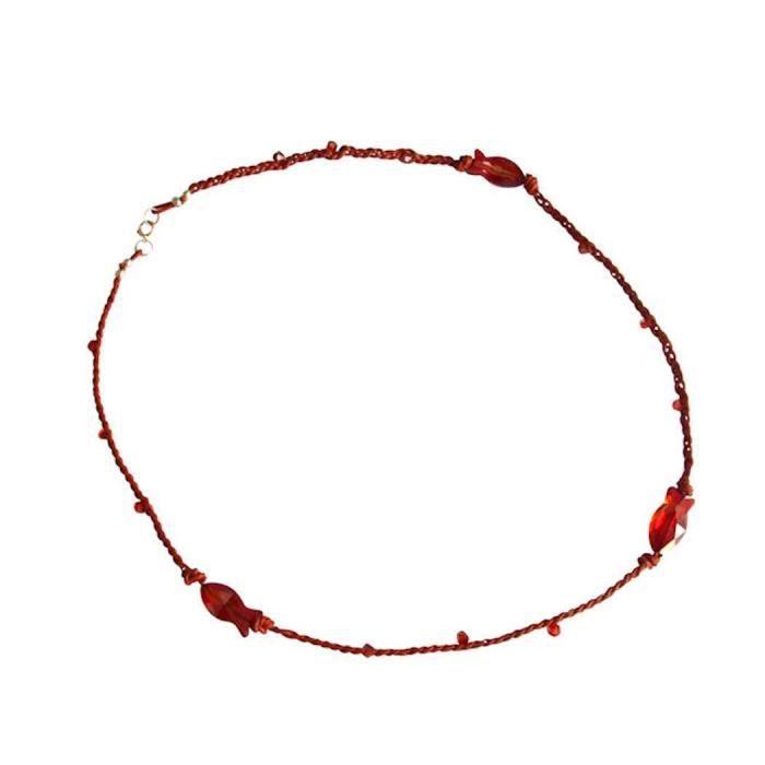 Gemshine - Femmes - Collier - Poisson - * Rouge Magma * - Rouge - or - de SWAROVSKI ELEMENTS® - 45 cm