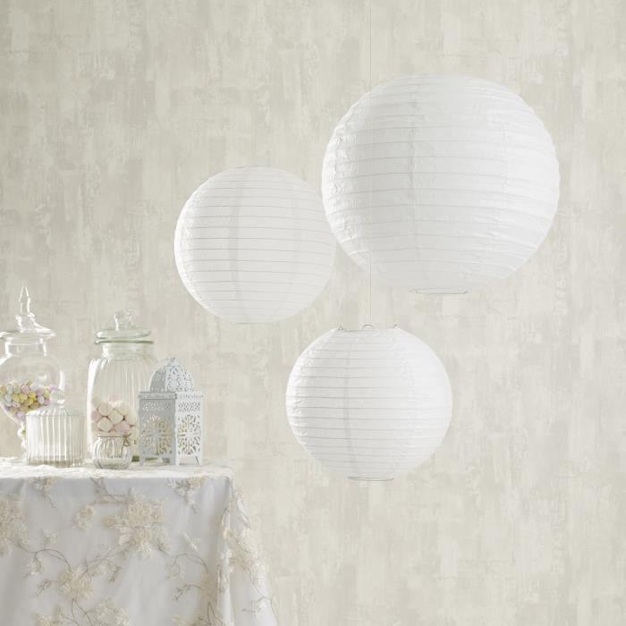 lampion papier blanc achat vente lampion papier blanc pas cher cdiscount. Black Bedroom Furniture Sets. Home Design Ideas