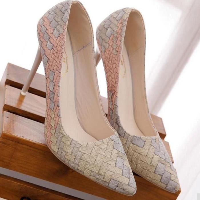 Chaussures à Talons Hauts Aigu Femme Escarpin Couleur Beige Andr5X9kN3