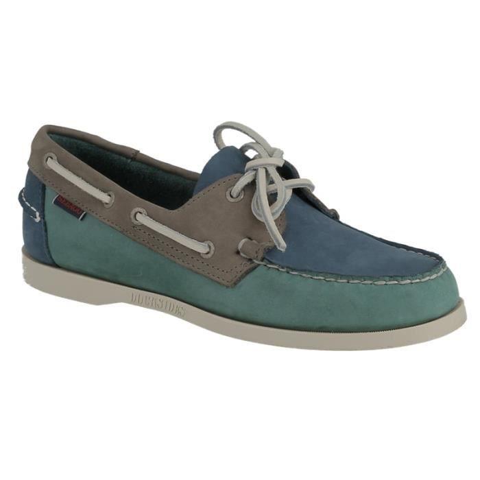 Chaussure Sebago Dockside spinnaker B720354 bleu, bleu canard et gris.