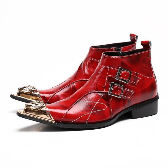 2017 Fait à la main en cuir véritable formel rouge hommes Bottines pointe en métal bout pointu Homme Taille accrue Fashion Boot
