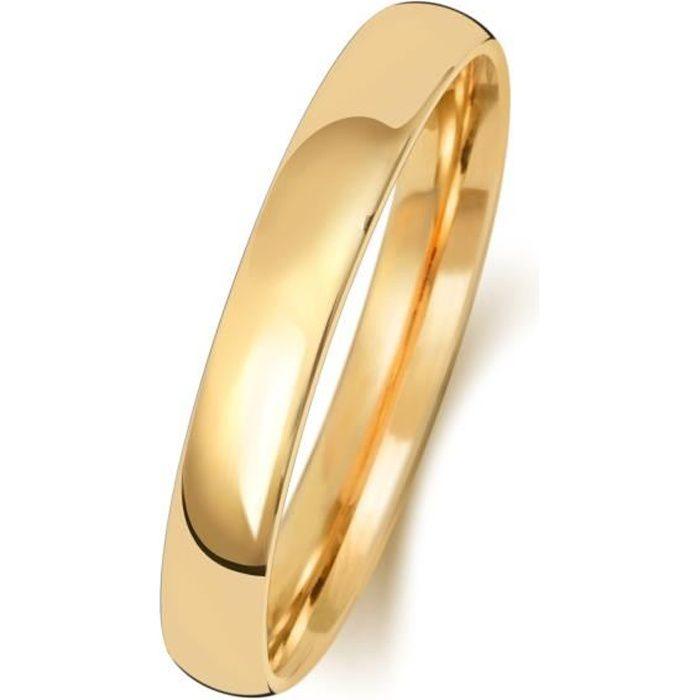 Bague de Mariage-Alliance Homme-Femme 3mm Demi Confort Or 375-1000 30942