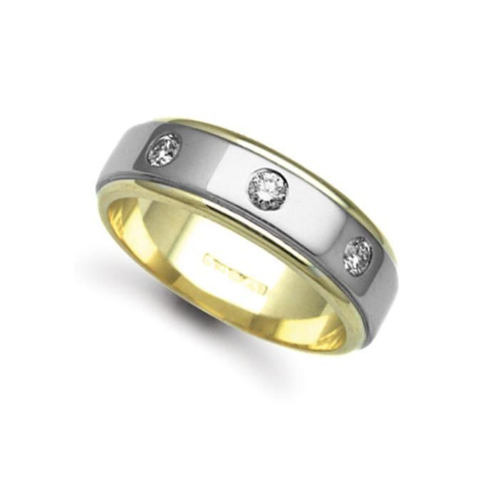 Jewelco London Or 2 couleurs 18k 0.3ct Diamant mariage bague 7mm