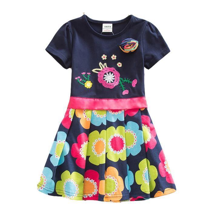 0c6a57d6513 Robes Enfant Fille Broderie Manches Courtes Coton Casual 2-8 ans ...