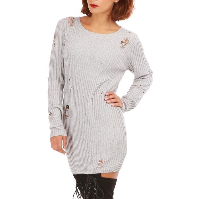 Gris Sm Destroy Vente Achat Effet Robe Pull Grise ZXO08nwPkN