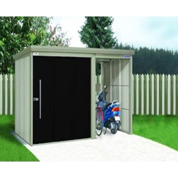 abri de jardin en acier galvanis avec portes noires 382 x 249 x 211 cm achat vente abri. Black Bedroom Furniture Sets. Home Design Ideas