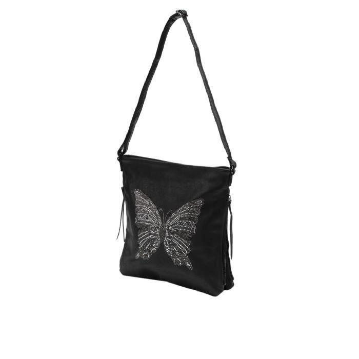 nouveaux styles 36a46 0efc5 Sac besace avec strass papillon - Achat / Vente besace - sac ...