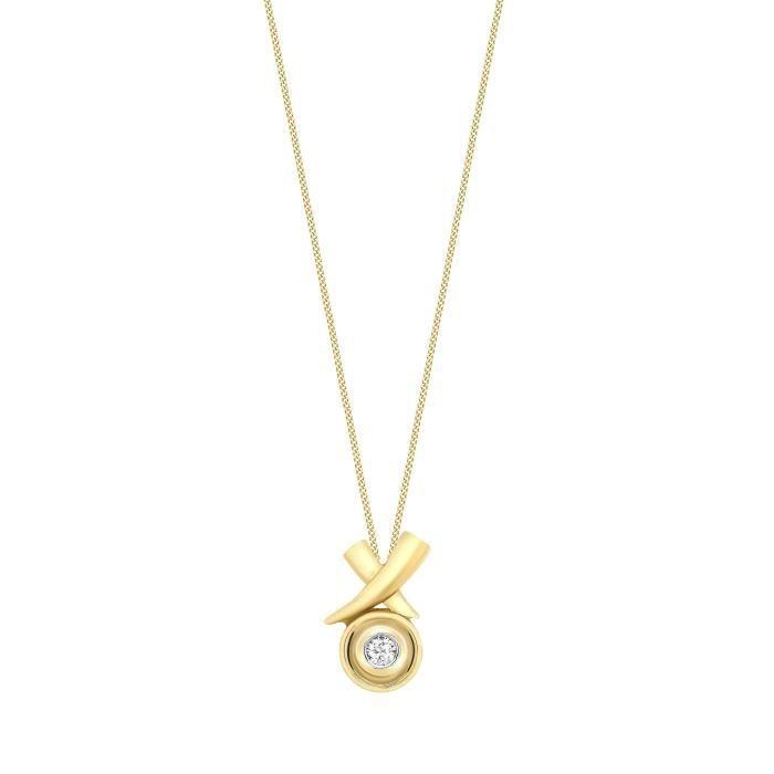 Collier - Femme - Or Jaune 375-1000 (9 Cts) 2.38 Gr - Diamant - 46 Cm Z8P0R