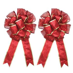 BOUQUET MARIÉE TISSU 2 PC Large Christmas Bow Red and Gold Bow Bouquet