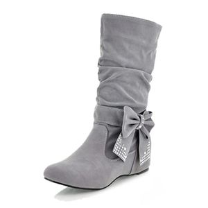 BOTTE femme plier rhinestone arc bottes gris 39