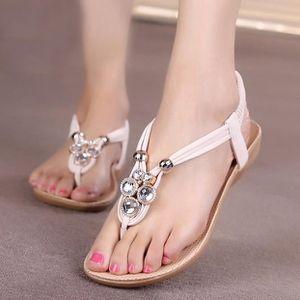 CHAUSSON - PANTOUFLE Femmes pantoufle d'été perlé bohème sandales plage