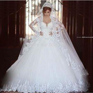 8435bad641e3 ROBE DE MARIÉE Tulle De Luxe Robe De Mariée Manches Longues Appli