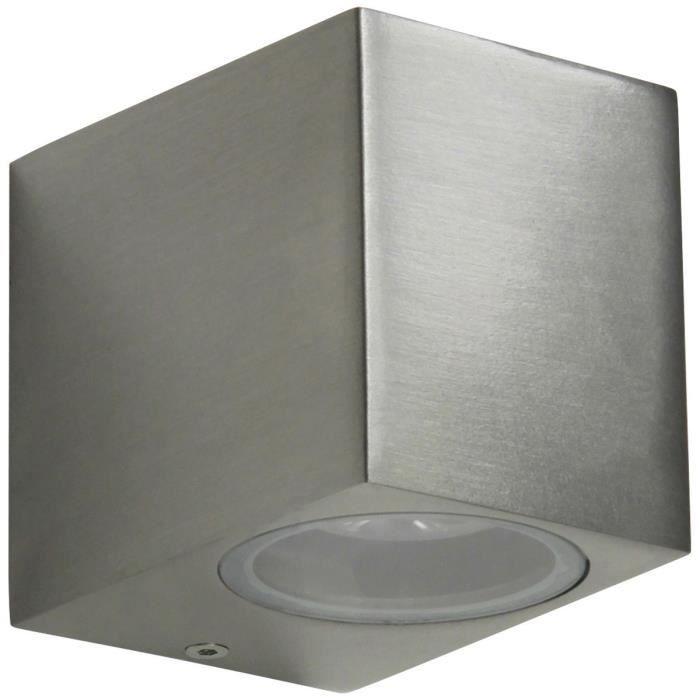 En inox et verre - Ampoule GU10 : 3 à 20W - Dimensions : 80x67x92mm - Coloris : gris.APPLIQUE EXTERIEURE
