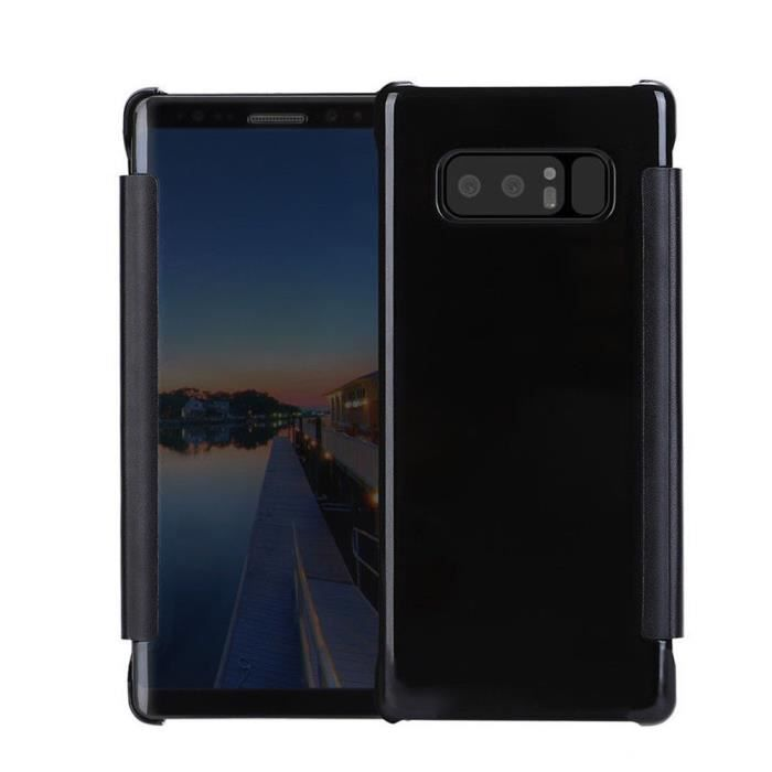 Pour Samsung Galaxy Note 8 Clear View Mirror Leather Flip Stand Case Covercoque HM10043