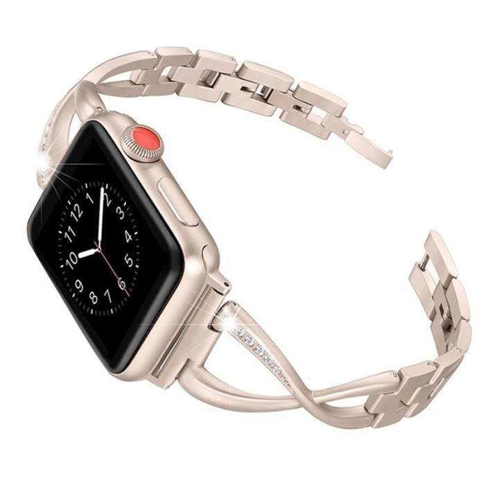 Femmes Montre Bande Pour Apple Watch Bandes 38Mm Réglable Bracelet En Acier  Inoxydable Pour Iwatch Série 3 2 1 Bracelet Or