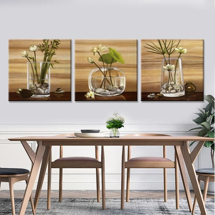 Abstract Flowers On Vase Modern Wall Art Canvas Painting 3 Panels Fresh Style Pictures For Dining Room Printed Posters
