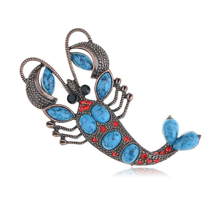 Rouge rubis perles cristal strass turquoise Broche Design Yummy homard