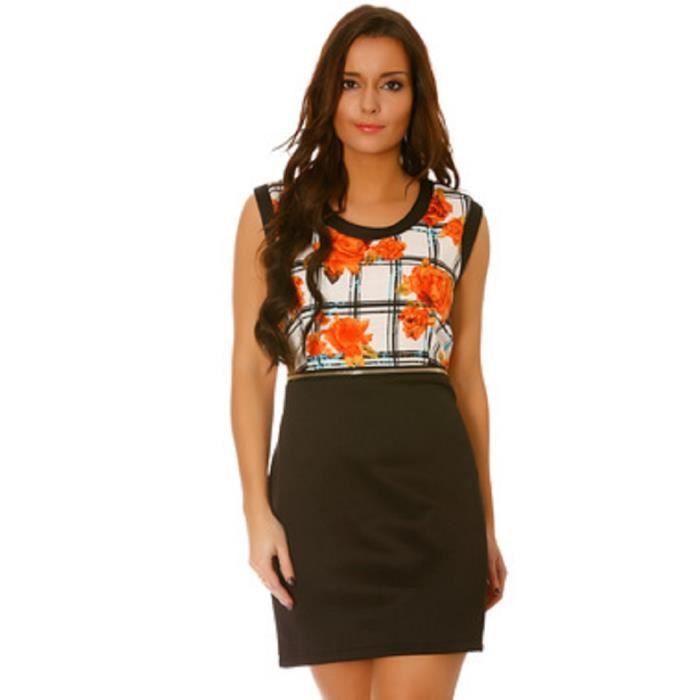 d753ca5215d4e Robe noire t 4042. courte moulante Orange à carreaux et à fleurs ...