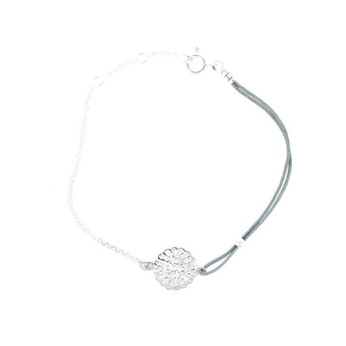Bracelet chaîne Argent925 Cordon Vert de Gris Médaille Mauresque bijou artisanal
