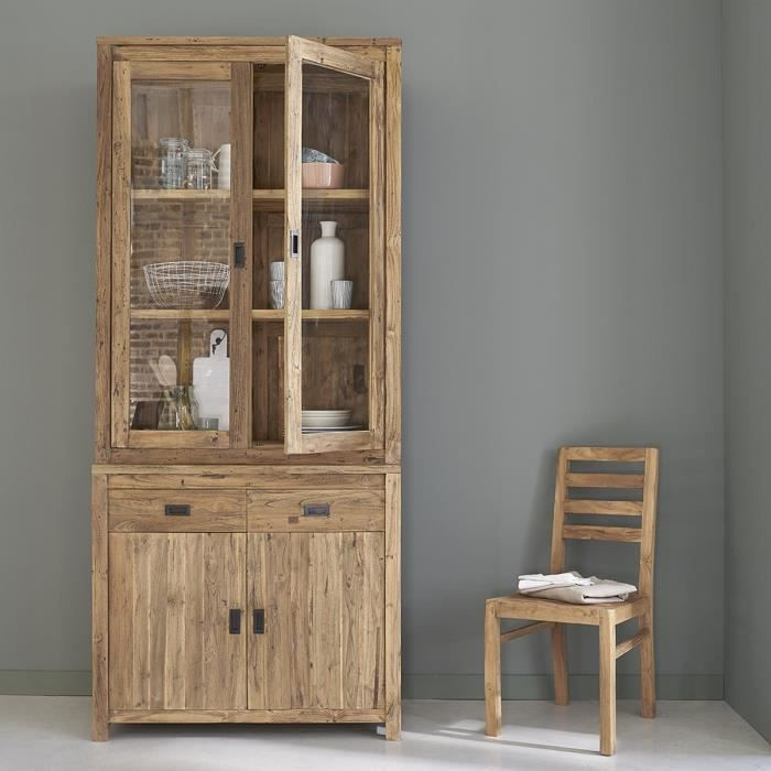 vitrine vaisselier teck recycle 4 portes ba achat. Black Bedroom Furniture Sets. Home Design Ideas