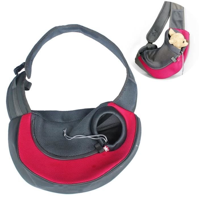 (#110) Dog And Cat Sling Carrier Hands Free Reversible Pet Papoose Bag, Size?large(red)