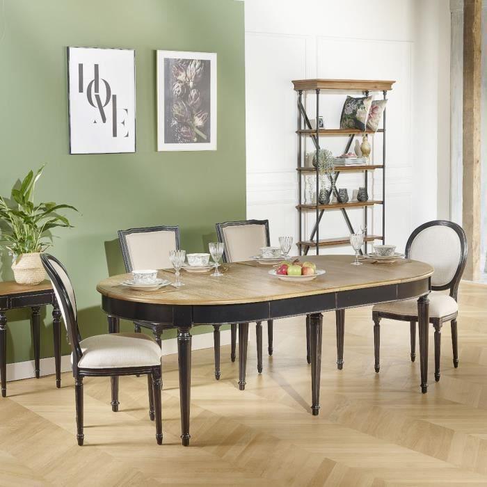 Table Salle à Manger, Chêne, FLORENCE 2m60 Patine Antiquaire Noire