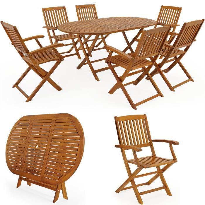 Salon de jardin Boston Ensemble 1 Table et 6 Chaises Bois d\'acacia ...
