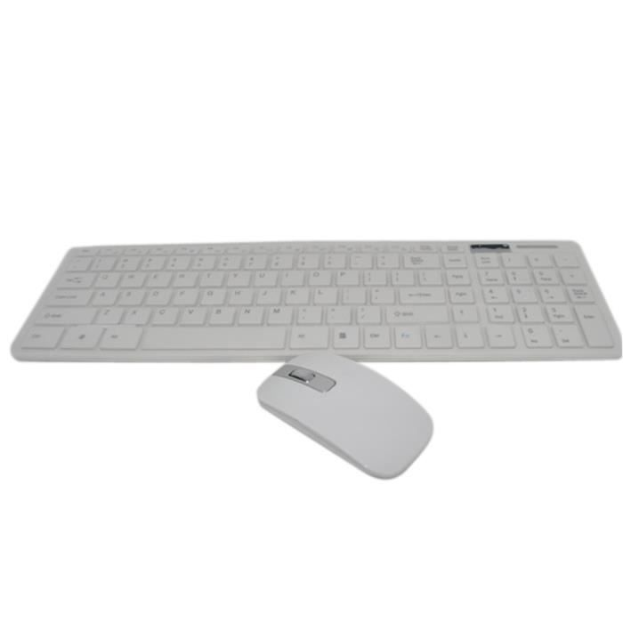 fc53e56680561a Cliver sans Fil 2.4G Ultra-mince avec Souris pour PC Portable de Bureau  Maison blanc