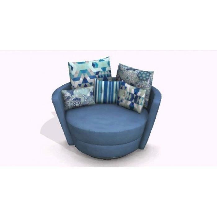 FAMA Fauteuil pivotant design MYNEST bleu Achat Vente fauteuil