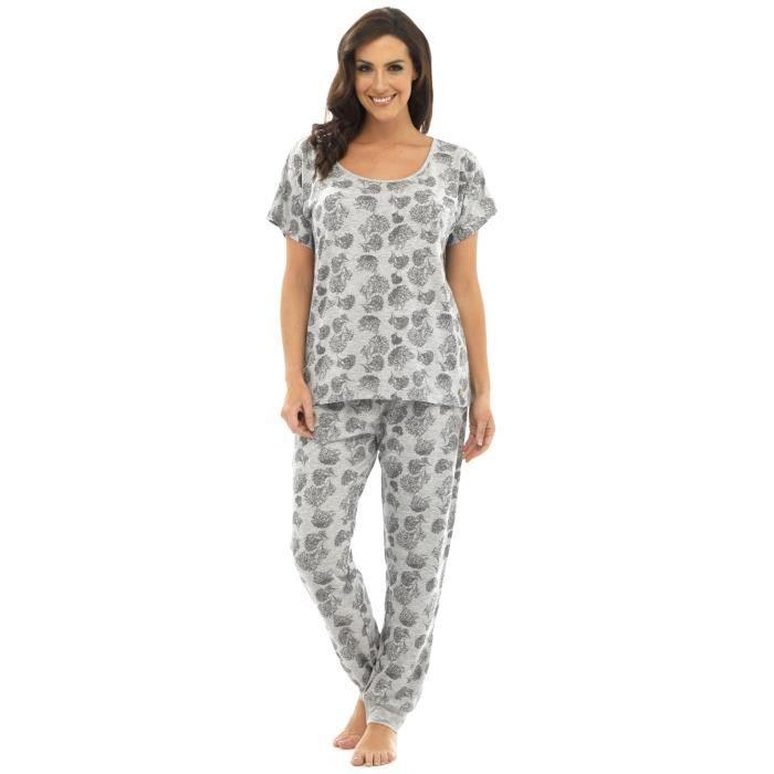 Fuselé rose T Pantalon Pyjama Chrysanthème De Ensemble Gris Motif shirt Femme qUwXS4fv