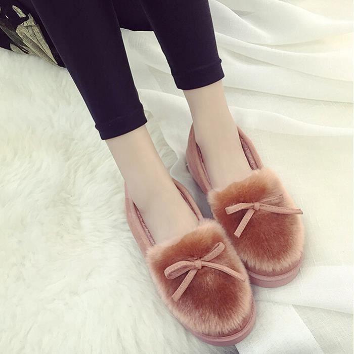 Bow chaussures plates, plus velours Pantoufles chaud femme
