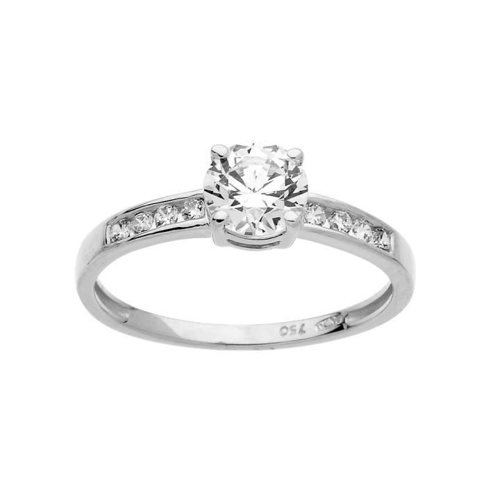 DIAMANTLY Bague cristal 6 mm 1,5 mm or gris 750-1000