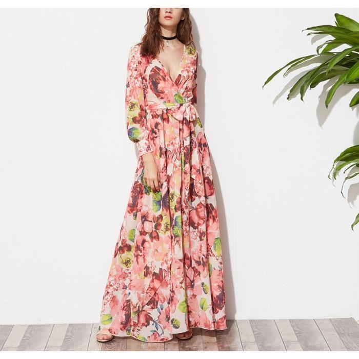 Un maxi manches longues robe femmes floral multicolore v-COU profonde maxi robe 2017 Mode Femmes élégante