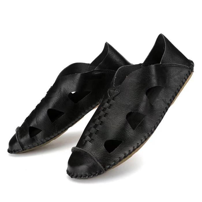 Sandales Hommes Peep-orteil Plage Chaussures Cuir Des Sandales Pour Été..